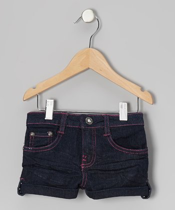 Dark Wash & Pink Denim Shorts - Toddler
