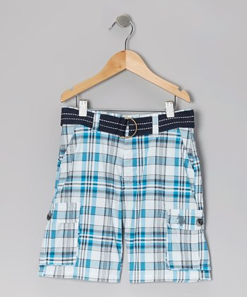 Teal Plaid Belted Cargo Shorts - Toddler & Boys
