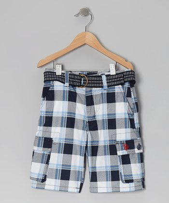 Navy Plaid Belted Cargo Shorts - Boys