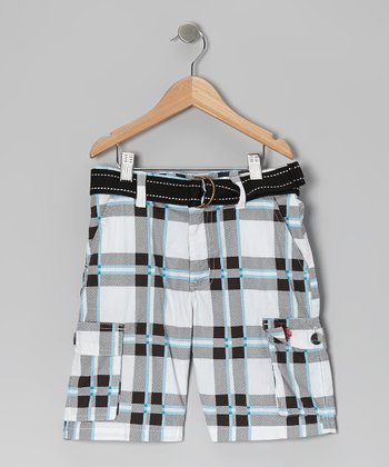 White Plaid Belted Cargo Shorts - Boys