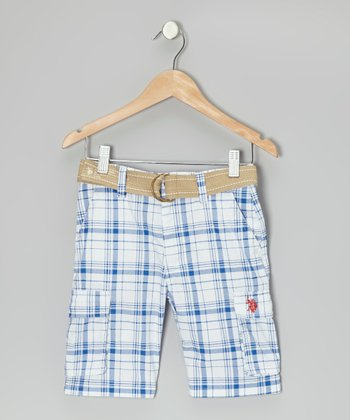 White & Blue Plaid Belted Cargo Shorts - Boys