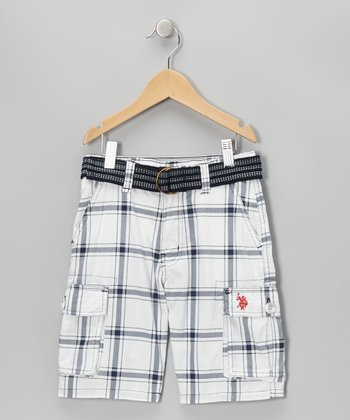 White & Black Plaid Belted Cargo Shorts - Boys