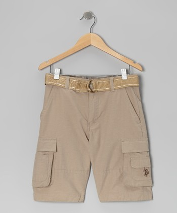 Light Khaki Belted Cargo Shorts - Boys