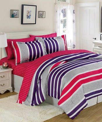 Pink & Purple Bright Stripes Comforter Set