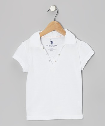 White Snap & Lace Polo - Girls