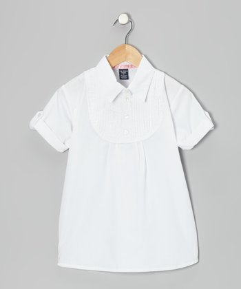 White Pin Tuck Polo - Girls