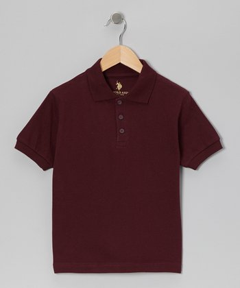 Burgundy Short-Sleeve Polo - Boys