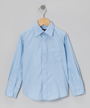 Light Blue Pocket Long-Sleeve Button-Up - Boys