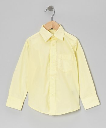 Yellow Pocket Long-Sleeve Button-Up - Boys