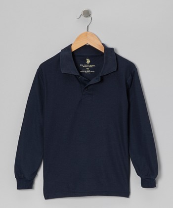 Navy Long-Sleeve Polo - Boys