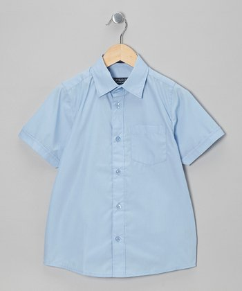 Light Blue Pocket Short-Sleeve Button-Up - Boys