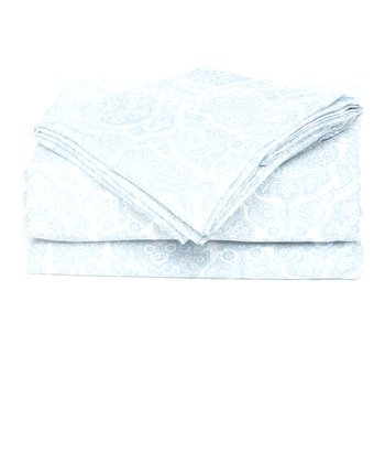 Light Blue Damask Microfiber Sheet Set