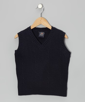 Navy Ribbed V-Neck Sweater Vest - Boys