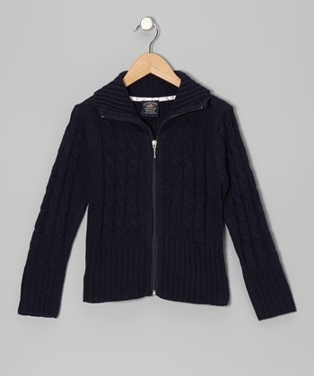 Navy Cable-Knit Zip-Up Cardigan - Girls