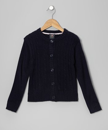 Navy Cable-Knit Cardigan - Girls