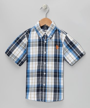 Navy Plaid Button-Up - Toddler