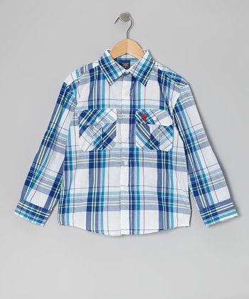 White & Blue Plaid Button-Up - Boys