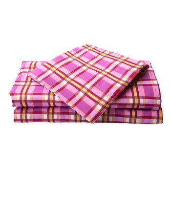 Pink & Yellow Summer Plaid Microfiber Sheet Set
