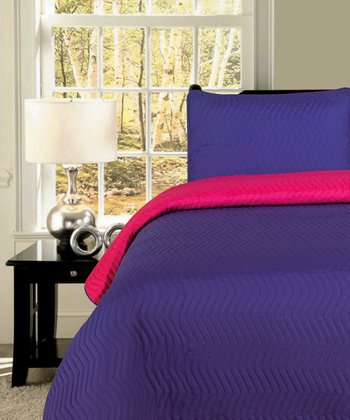 Pink & Purple Zigzag Reversible King Quilt Set