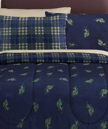 Hunter & Navy Twin Print Bed-in-Bag Plaid Reversible Bedding Set