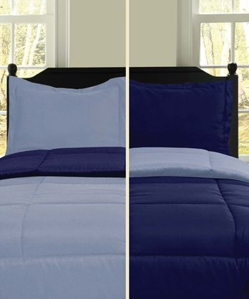 Navy & Blue Reversible Comforter Set