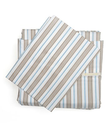 Light Blue Stripe King Sheet Set