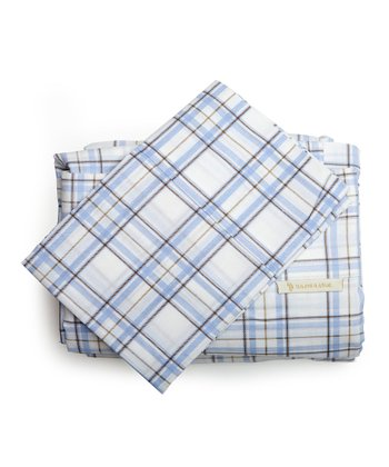 Medium Blue Plaid Sheet Set