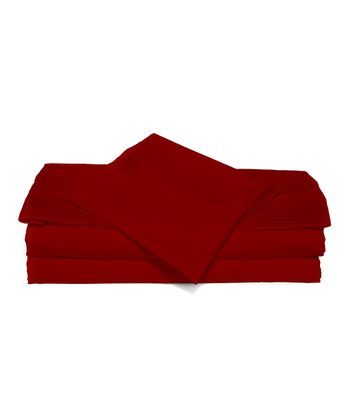 Majestic Red Luxurious Solid Sheet Set