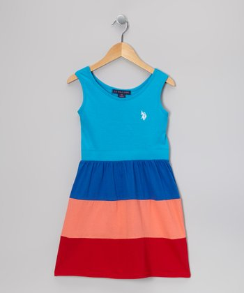 Turquoise & Red Color Block Dress