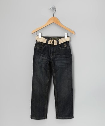 White Medium Wash Belted Jeans - Boys