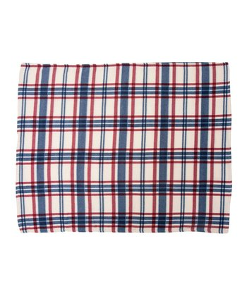 White Printed Plaid Fleece Throw