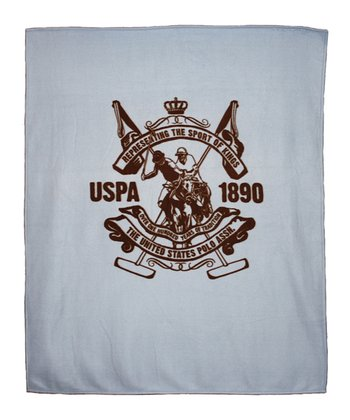 Light Blue Printed Crest Throw