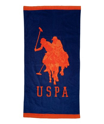 Navy & Orange Double Horse Beach Towel
