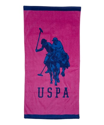 Pink & Navy Double Horse Beach Towel