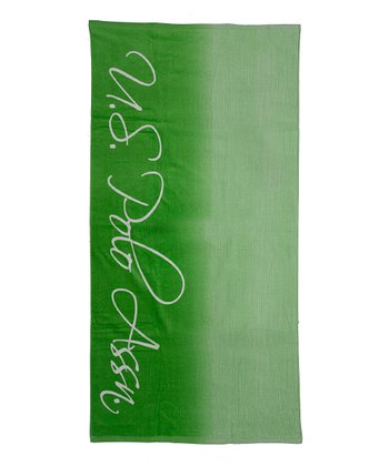 Lime Green Ombre Script Beach Towel
