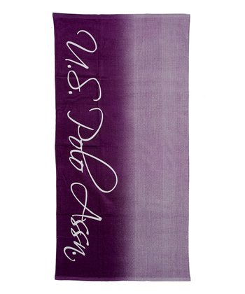 Purple Envy Ombre Script Beach Towel
