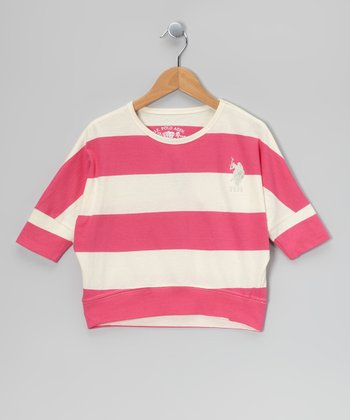 Pink Stripe Dolman Sleeve Top
