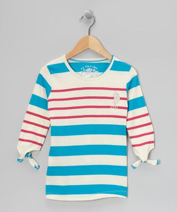 Pink & Teal Three-Quarter Sleeve Top