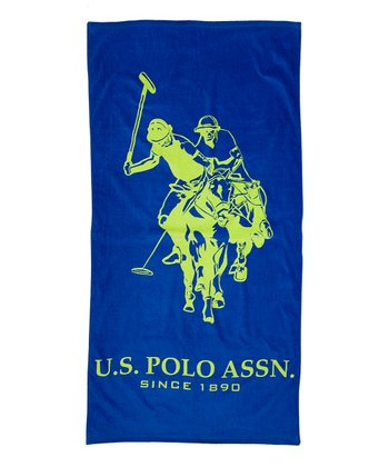 Navy & Lime Outline Beach Towel