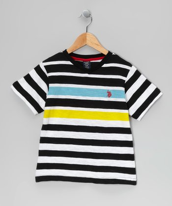 Black & Yellow Stripe Tee - Boys