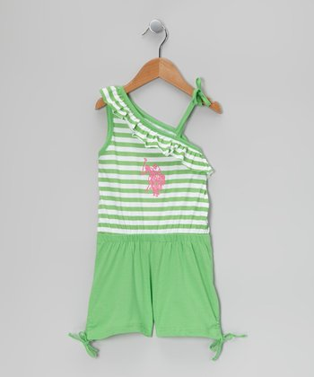 Lime Stripe Asymmetrical Romper