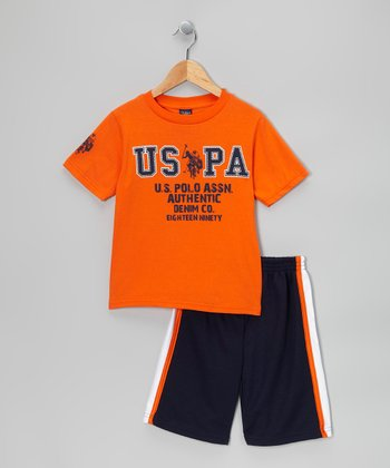Orange & Navy 'USPA' Tee & Shorts - Toddler & Boys