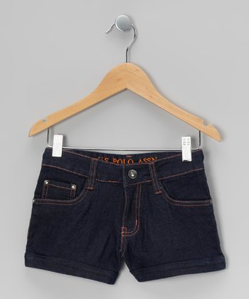 Indigo & Orange Denim Shorts