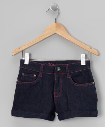 Indigo & Pink Denim Shorts