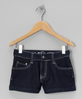Indigo & White Denim Shorts
