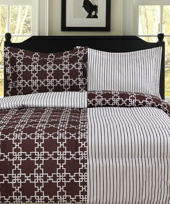 Chocolate & White Sofia Reversible Printed Comforter Set