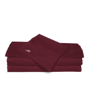 Burgundy Sateen Queen Luxury Sheet Set