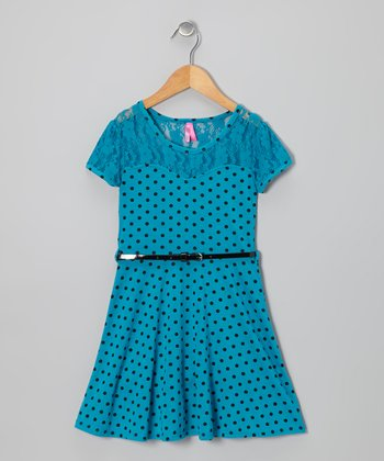 Teal & Black Polka Dot Belted Dress