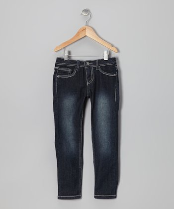 Blue Black Embellished Skinny Jeans
