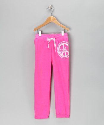 Pink Glitter 'Peace' Terry Sweatpants - Toddler